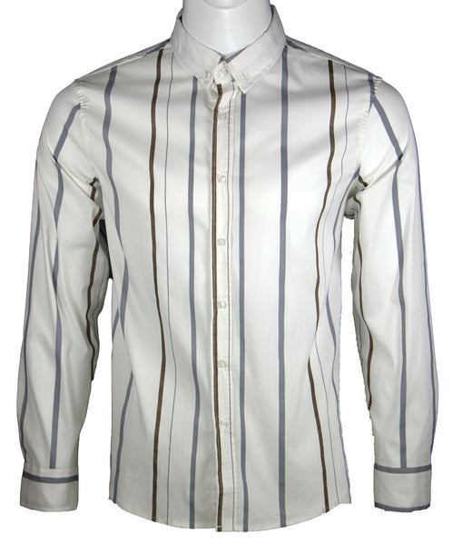 Long Sleeve Strips Shirt (White) 1658