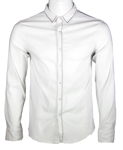 Simple Classic Long Sleeve Shirt (White) 1655