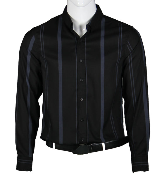 Long Sleeve Strips Shirt (Black) 1656