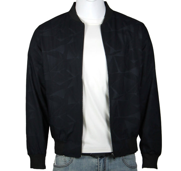 'Watermark Prints' Bomber Jacket (Navy Charcoal) 2336