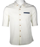 3/4 Sleeve Classic Shirt with Pocket (Creamy White) 1694