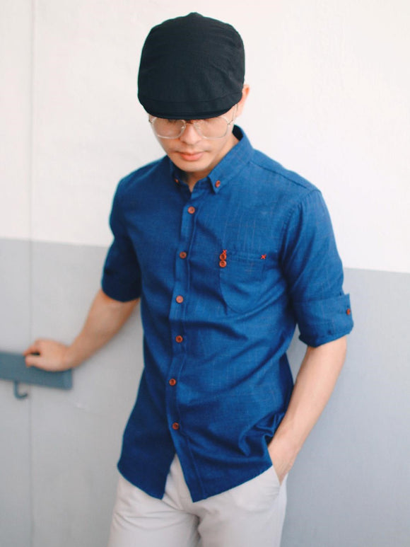 Checkered 3/4 Sleeve Shirt (Blue) 1724