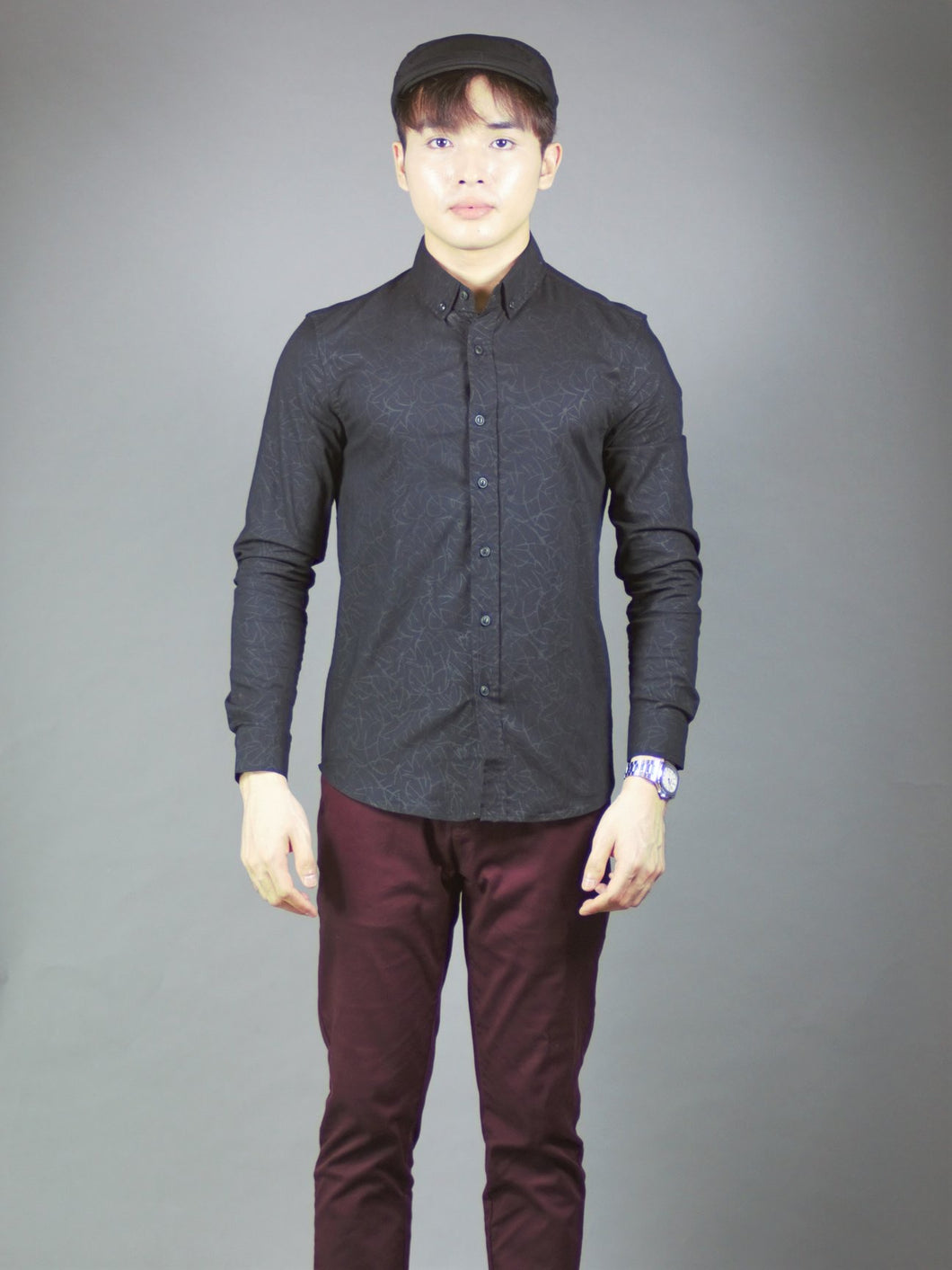 Long Sleeve Designed Shirt (black) 1394