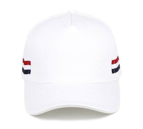 Unisex Baseball cap with 'red white blue strips' White