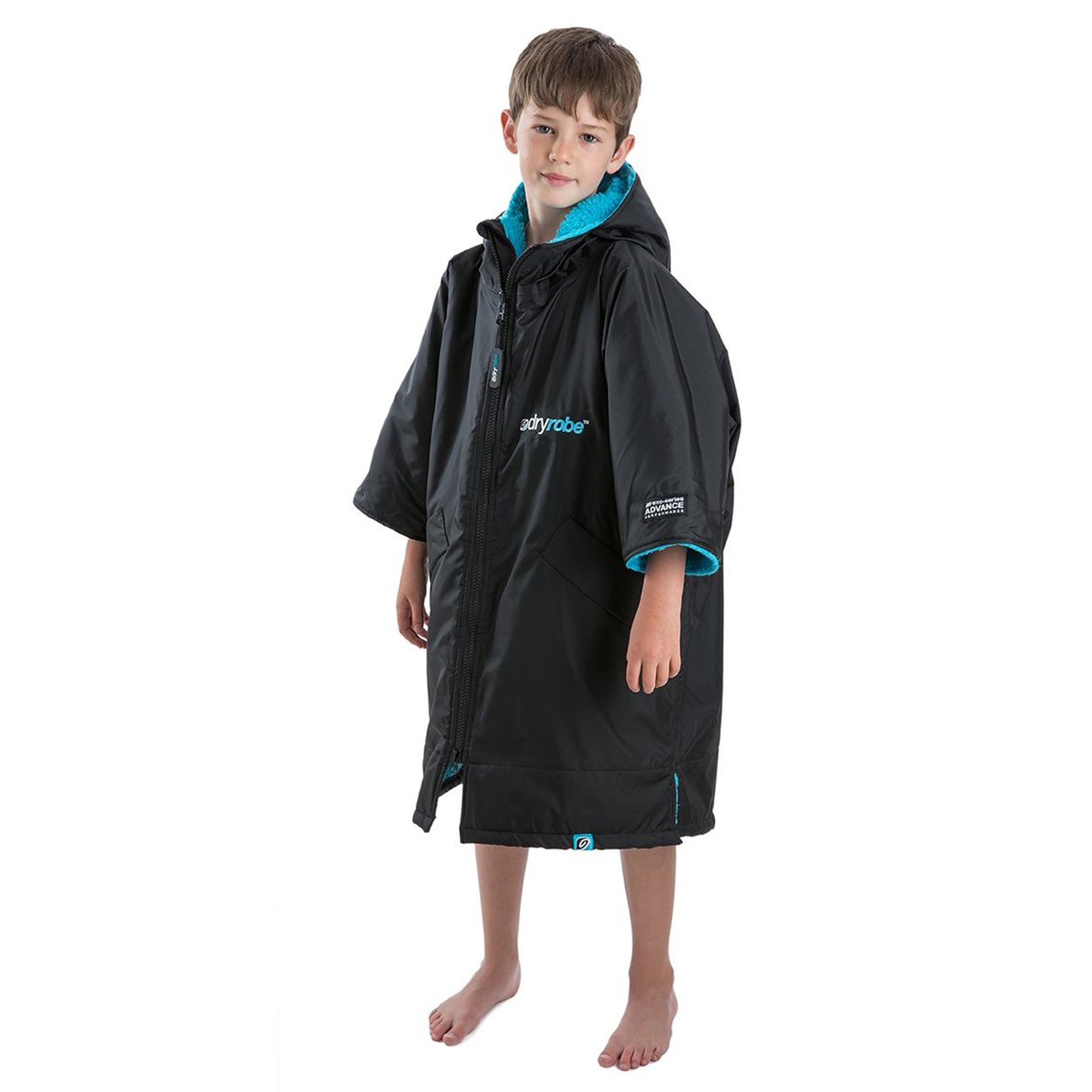 Dryrobe Advance Kids Short Sleeve - Black & Blue