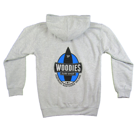 Kids Marl Grey Hoody - One Board Logo In Blue and Black