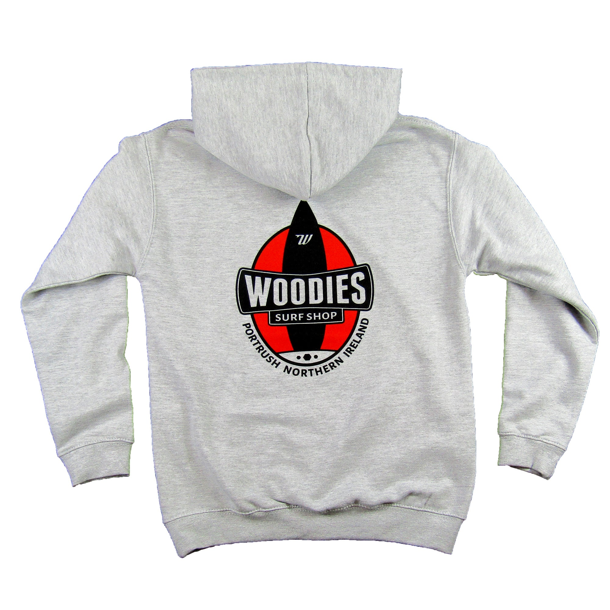 Kids Marl Grey Hoody - One Board Logo In Warm Red and White