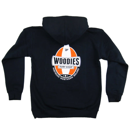 Kids Navy Hoody - One Board Logo In Orange and White