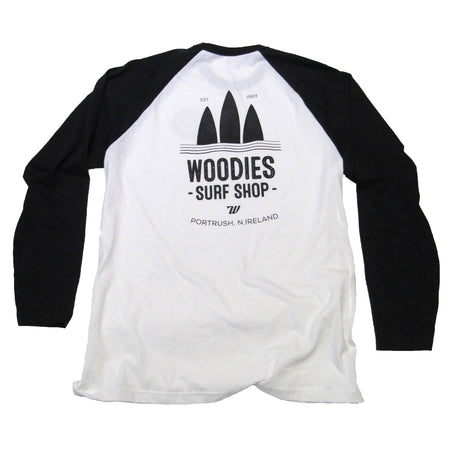 Mens - White & Black Long Sleeve Tee - 3 Boards Logo