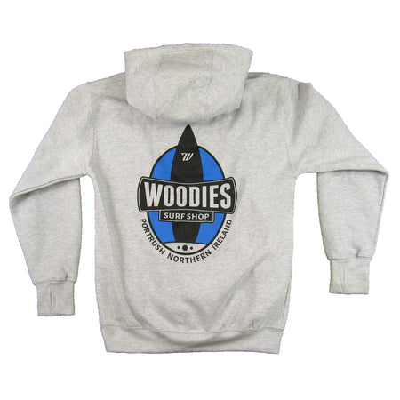 Woodies Marl Grey Hoody - One Board Logo in Blue & Black