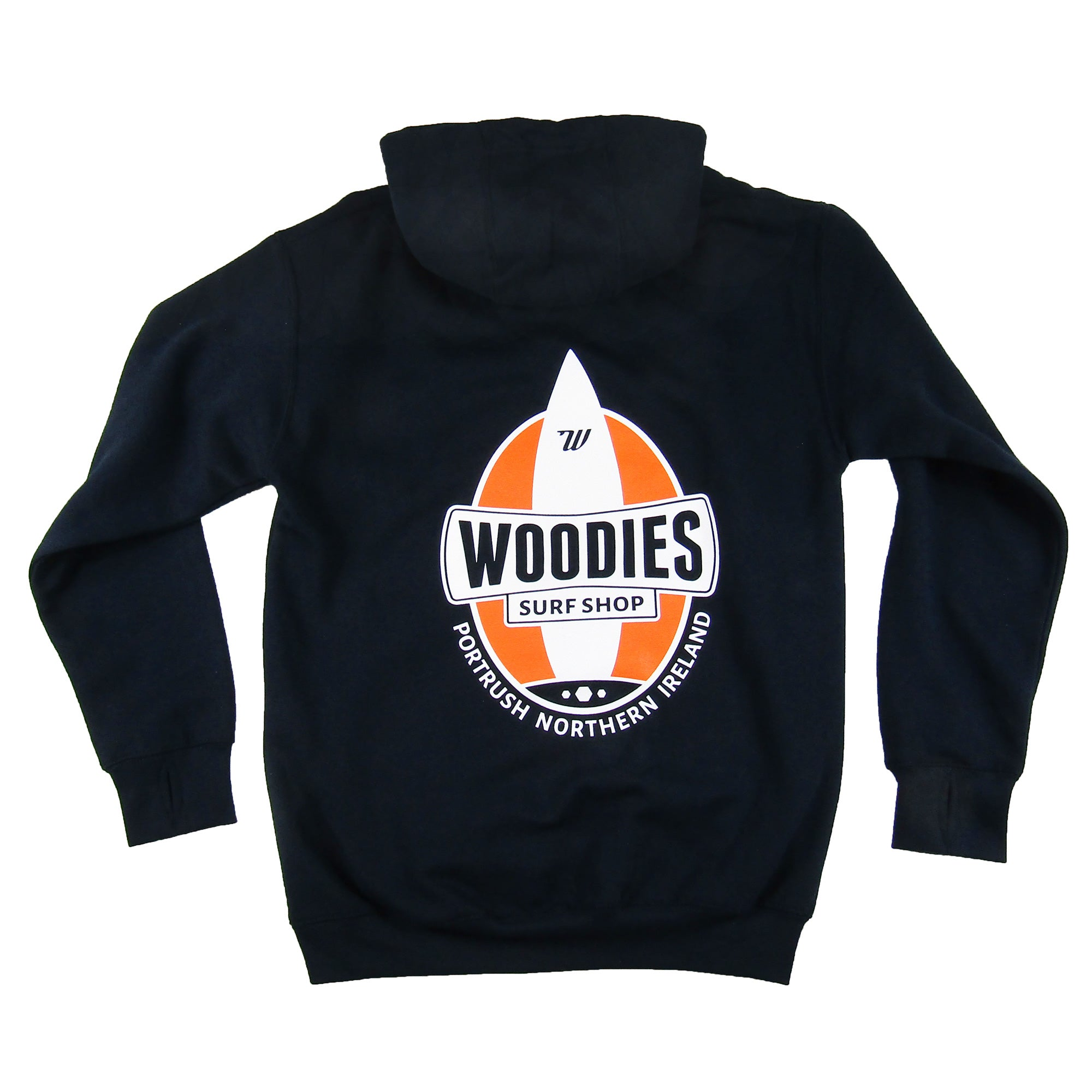 Mens - Navy Hoody - One Board Logo in Orange & White