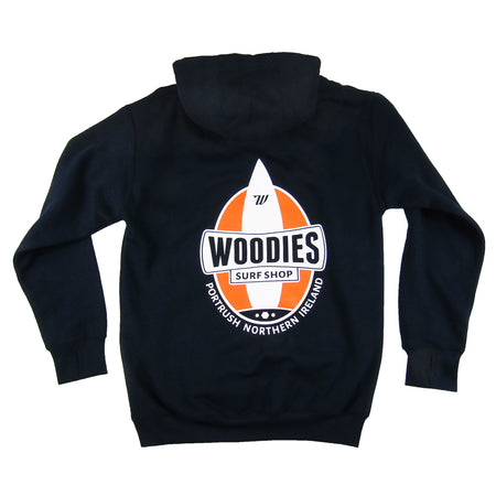 Woodies Navy Hoody - One Board Logo in Orange & White