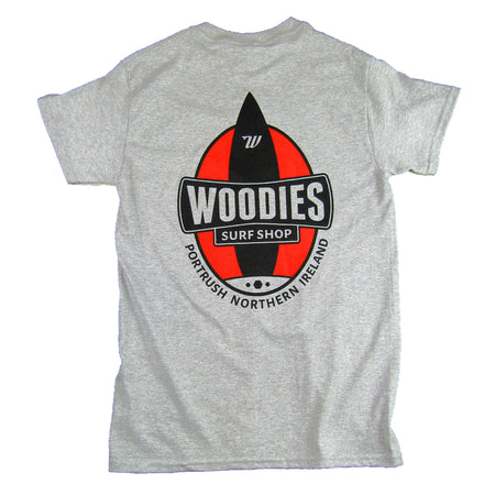 Mens Tee - Marl Grey - One Board Logo in Red & Black