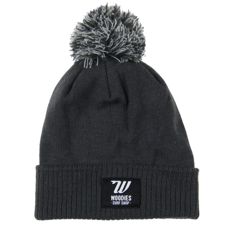 Pom Pom Beanie - Graphite Grey & Light Grey