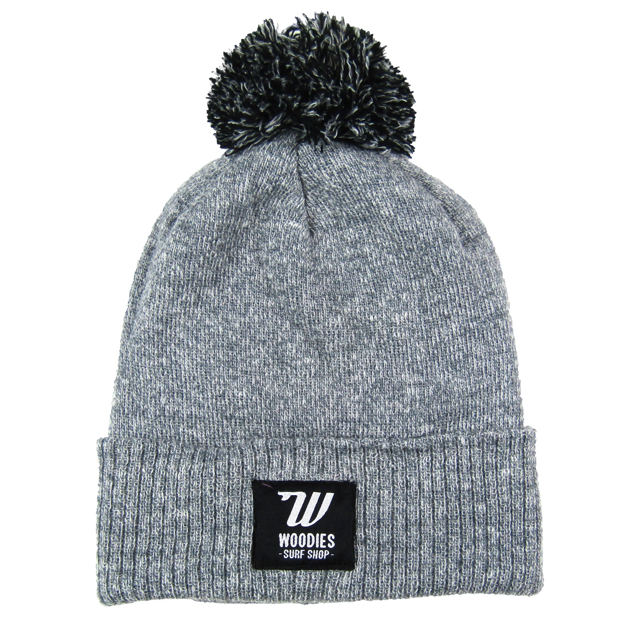 Pom Pom Beanie - Heather & Black