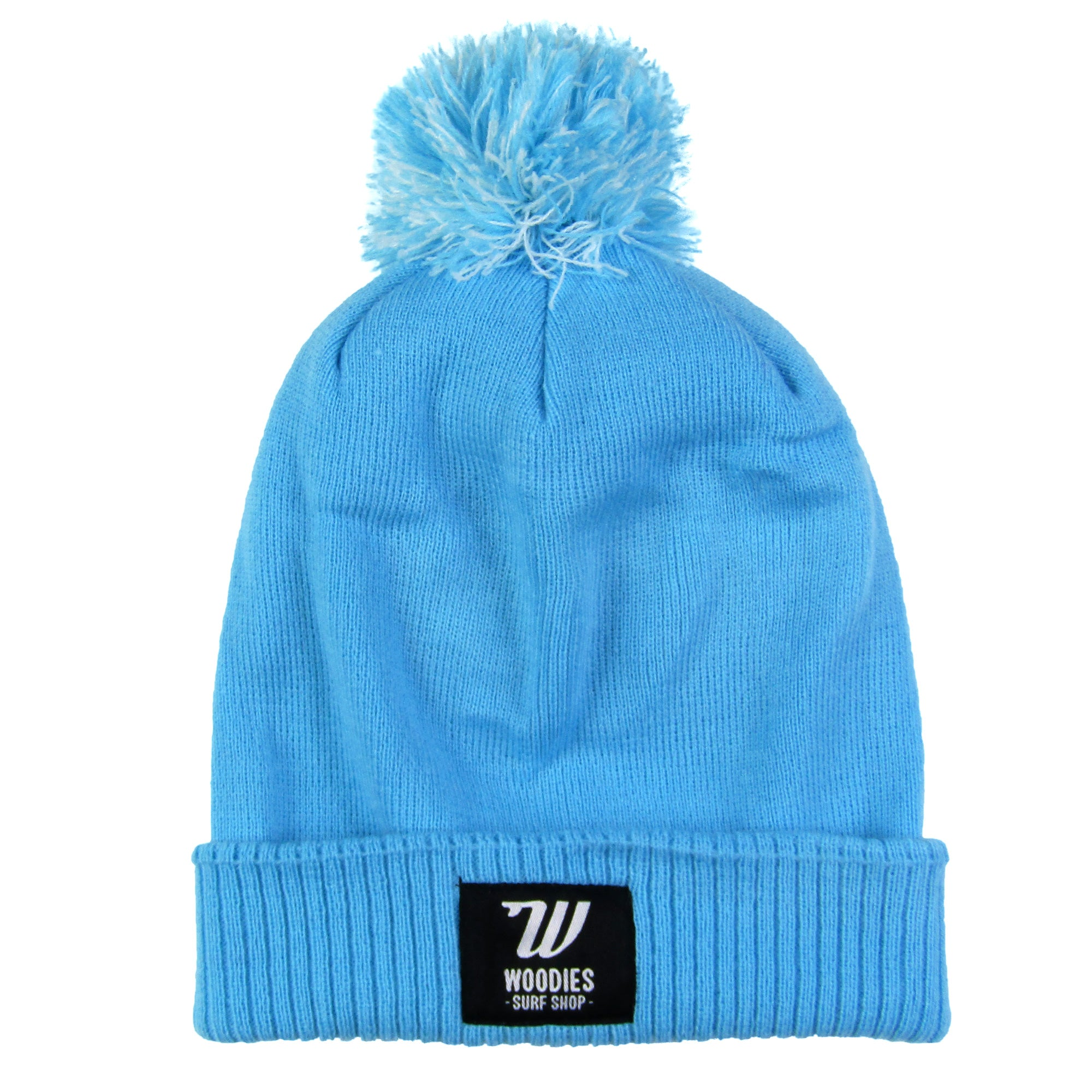 Pom Pom Beanie - Surf Blue & Off White