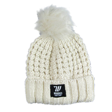 Popcorn Knit Faux Fur Pop Pom Beanie - Oatmeal