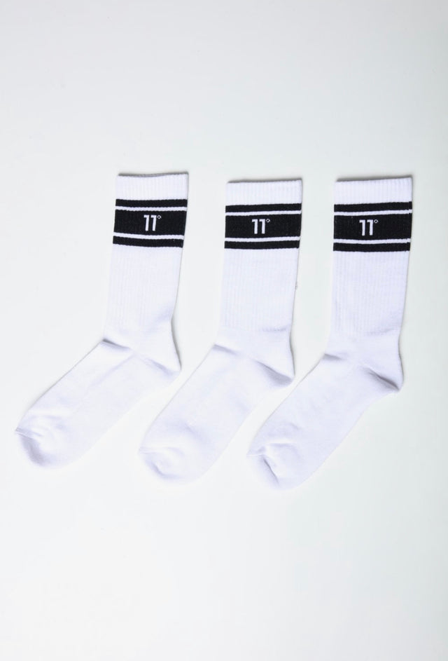 11 Degrees - Stripe Crew Socks 3Darab - White
