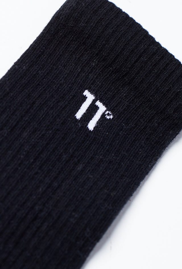 11 Degrees - Core Logo Crew Socks 3Darab - Black
