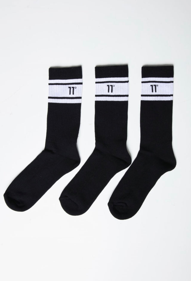 11 Degrees - Stripe Crew Socks 3Darab - Black