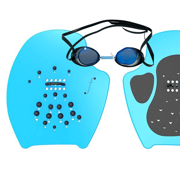 swim paddles and goggles