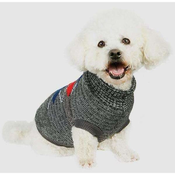 Charcoal Grey and Red Argyle Dog Jumper - Urban - 2