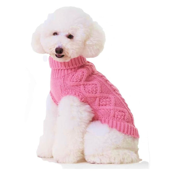 Classic Cable Knit Dog Jumper In Rose Pink - Posh Pawz - 5