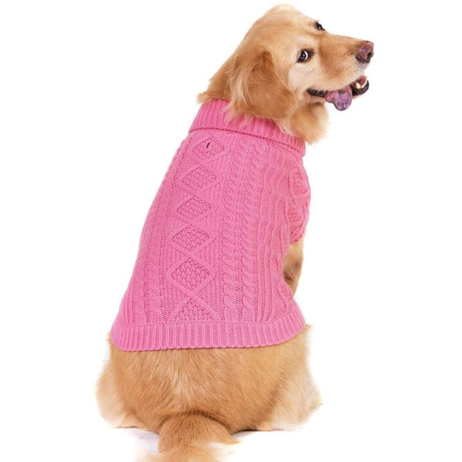 Classic Cable Knit Dog Jumper In Rose Pink - Posh Pawz - 1