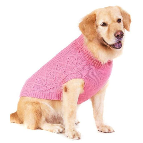 Classic Cable Knit Dog Jumper In Rose Pink - Posh Pawz - 4