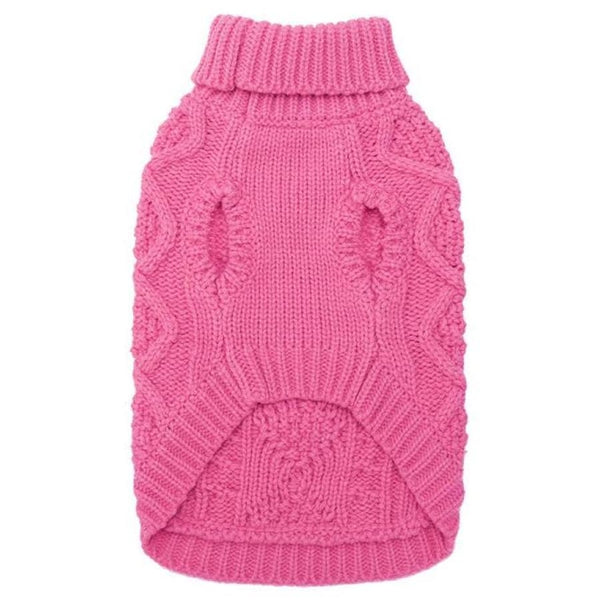 Classic Cable Knit Dog Jumper In Rose Pink - Posh Pawz - 3