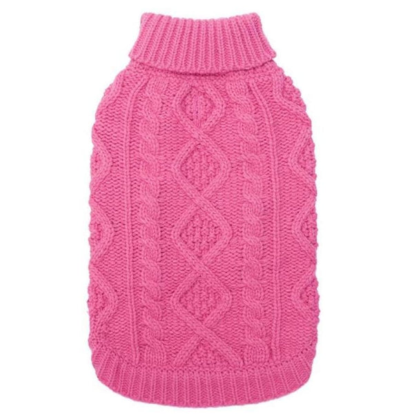 Classic Cable Knit Dog Jumper In Rose Pink - Posh Pawz - 2