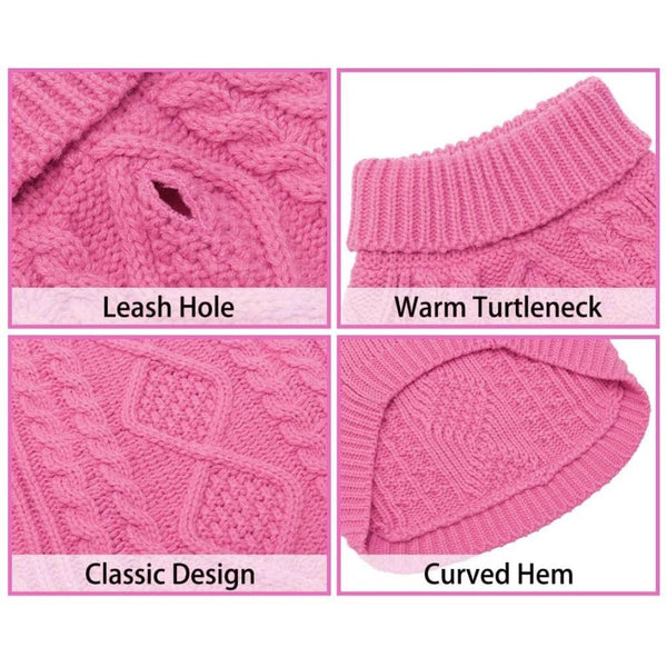 Classic Cable Knit Dog Jumper In Rose Pink - Posh Pawz - 6