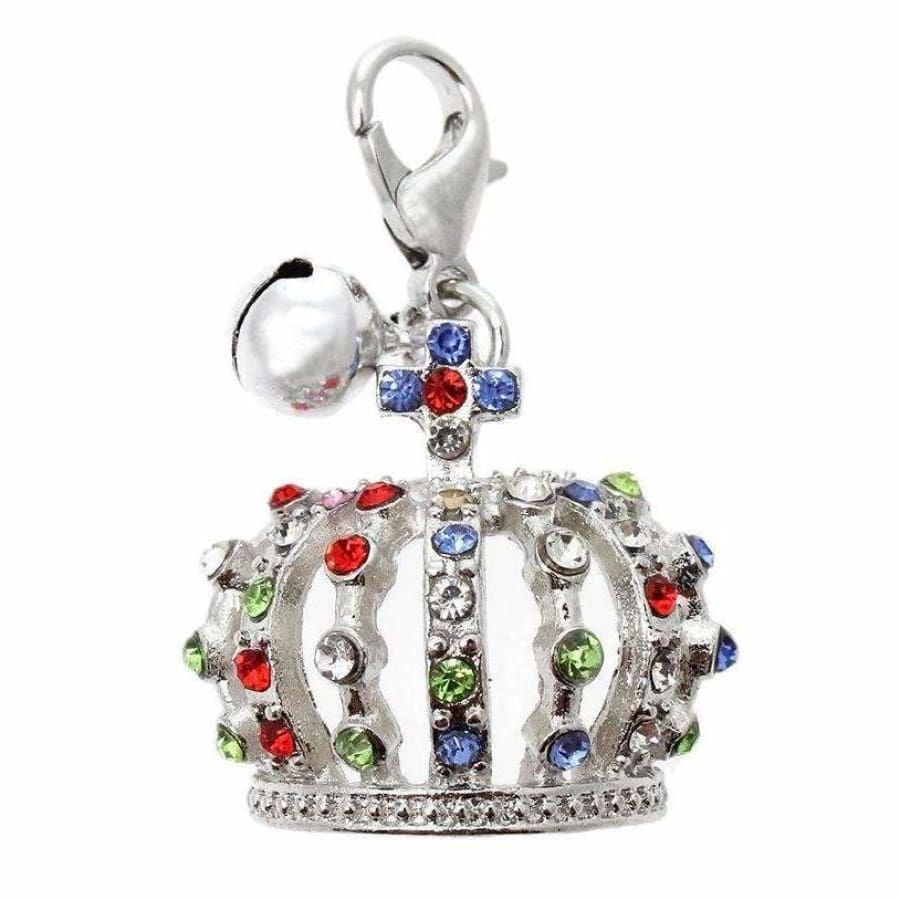 Crown Jewels Dog Collar Charm In Silver - Urban - 1