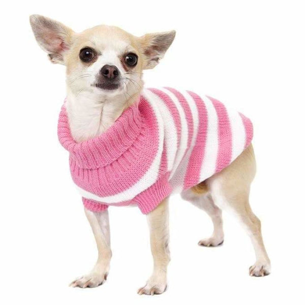 Pink and White Candy Stripe Dog Jumper - Urban - 2