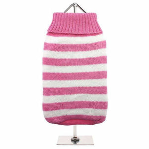 Pink and White Candy Stripe Dog Jumper - Urban - 1