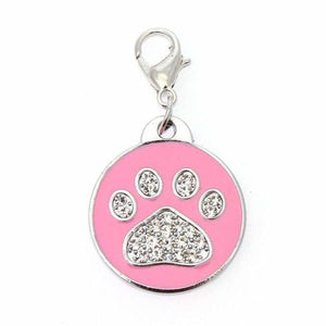 Pink Enamel Diamante Paw Dog Collar Charm - Urban - 1