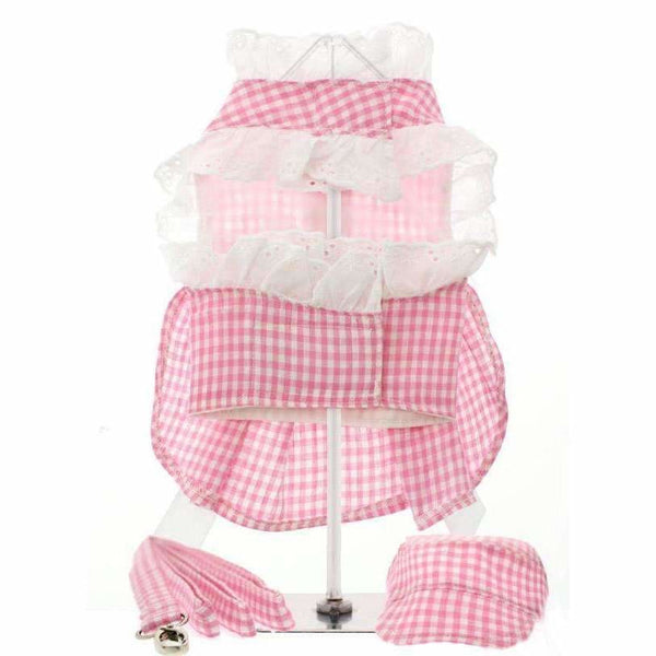 Pink Gingham and White Ribbon Dog Harness Dress Set - Urban - 2