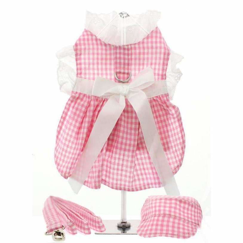 Pink Gingham and White Ribbon Dog Harness Dress Set - Urban - 1