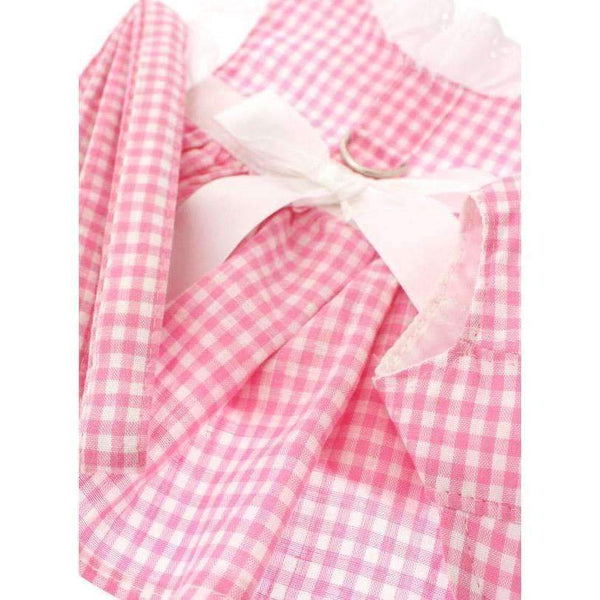 Pink Gingham and White Ribbon Dog Harness Dress Set - Urban - 3