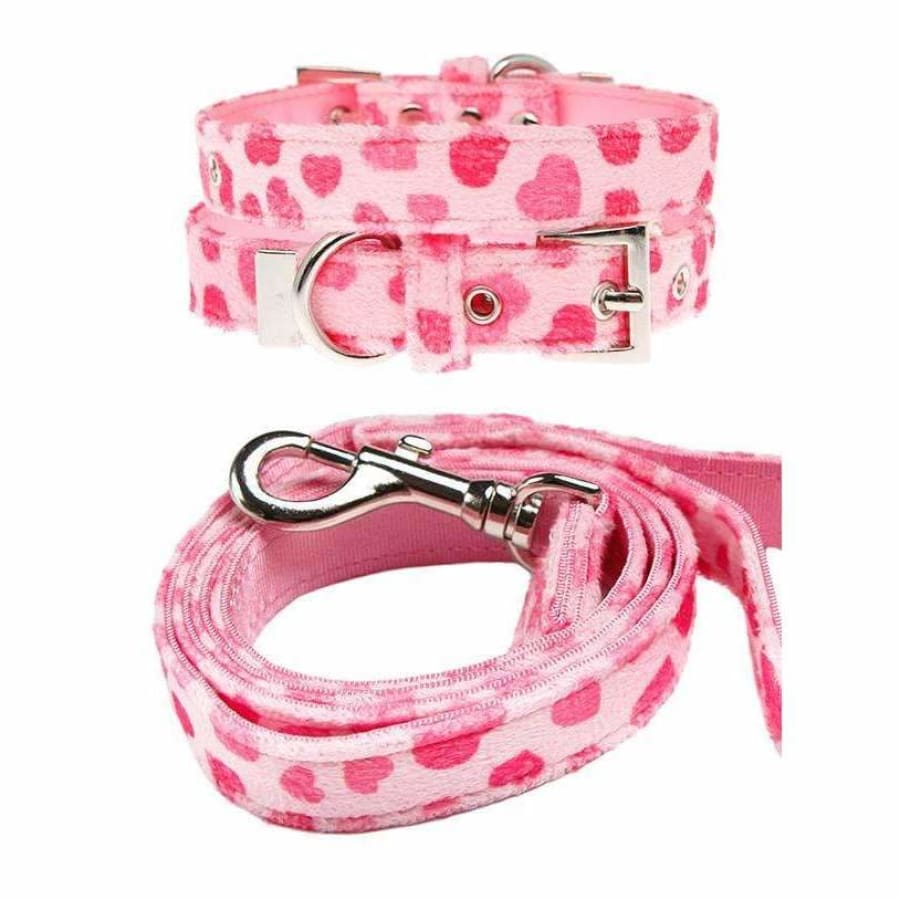 Pink Hearts Fabric Dog Collar And Lead Set - Urban - 1