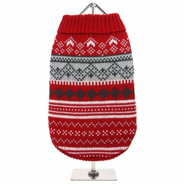 Red Fair Isle Vintage Dog Jumper - Urban - 1