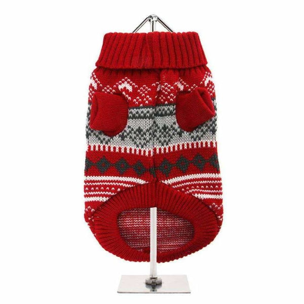 Red Fair Isle Vintage Dog Jumper - Urban - 2