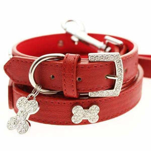 Red Leather Diamante Bones Dog Collar And Lead Set - Urban - 1