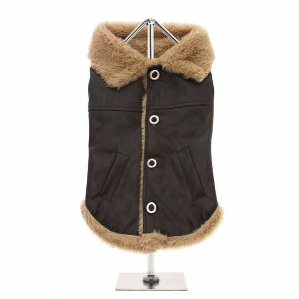 Urban Pup Brown Leather Flying Jacket Dog Coat Small - Sale - 2