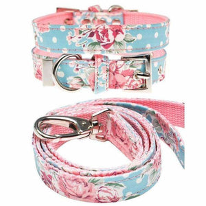 Vintage Rose Floral Fabric Dog Collar And Lead Set - Urban - 1