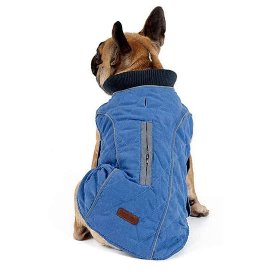 Weatherproof Quilted Bodywarmer Dog Coat In Blue - Posh Pawz - 1