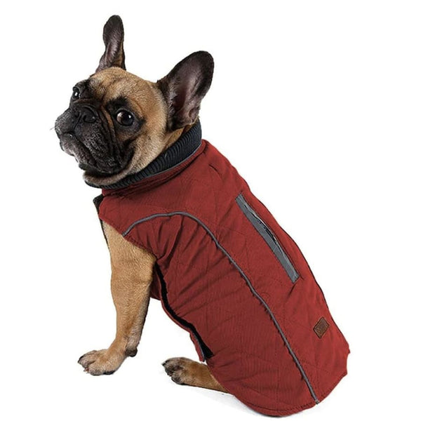 Weatherproof Quilted Bodywarmer Dog Coat In Red - Posh Pawz - 1