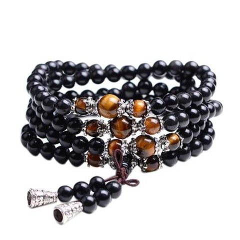 108 Prayer Tiger Eye and Onyx Meditation Bead Mala Bracelet/ Necklace-Shop Deal Anchor