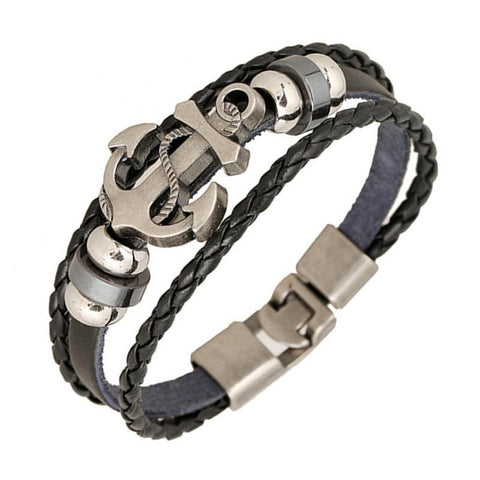 Anchor Alloy + Leather Casual Bracelet-Shop Deal Anchor