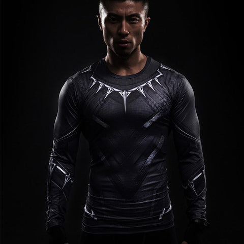 Black Panther 3D Printed Compression Gym Shirt - Long-Sleeves Mens-Shop Deal Anchor